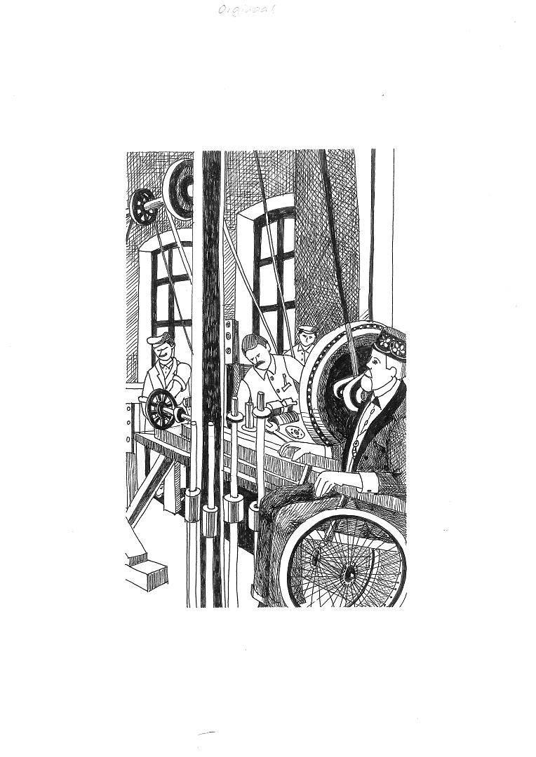 Mann im Rollstuhl in Fabrik