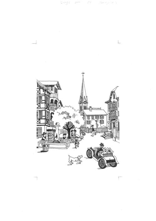 Auto fährt auf den Dorfplatz