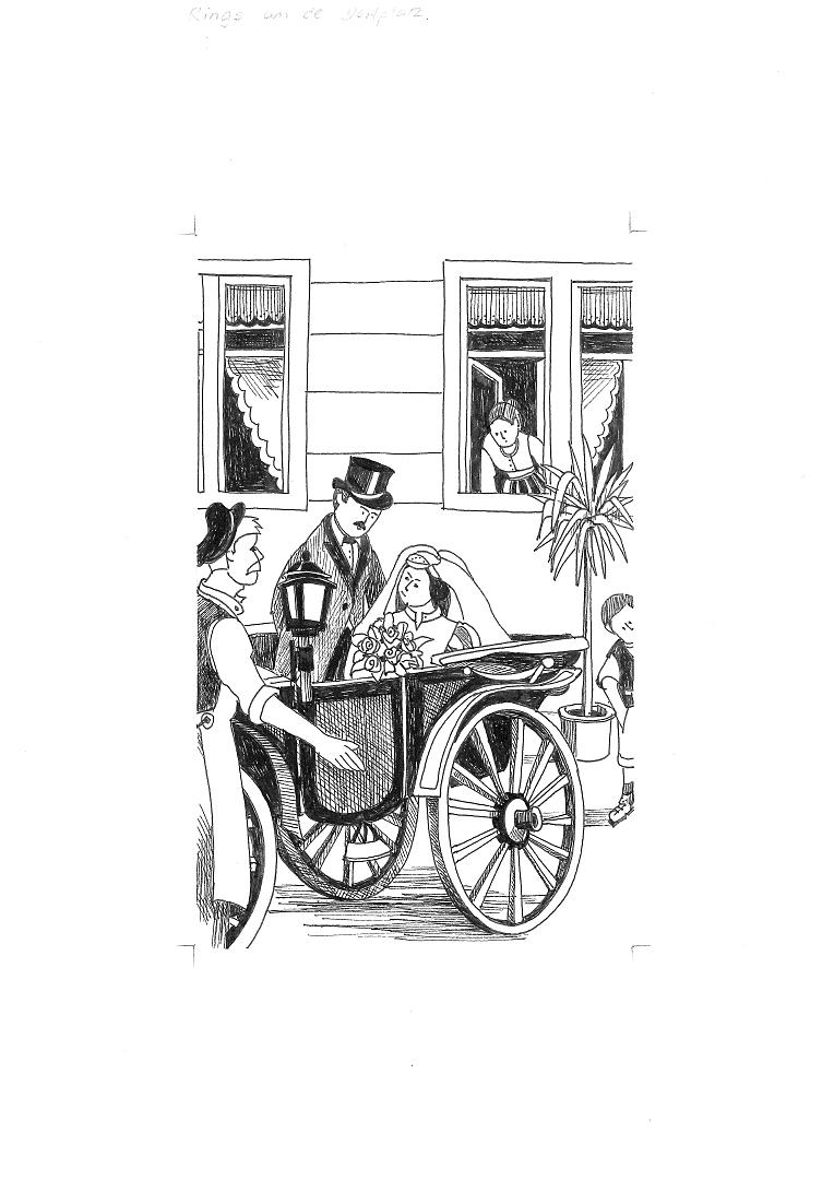 Hochzeitspaar in der Kutsche