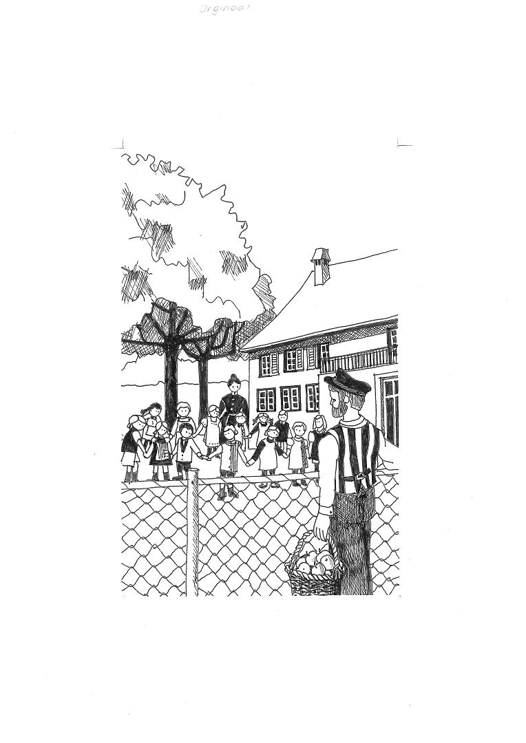 Mann mit einem Korb voller Äpfel blickt über Zaun zu den Schülern im Schulhof