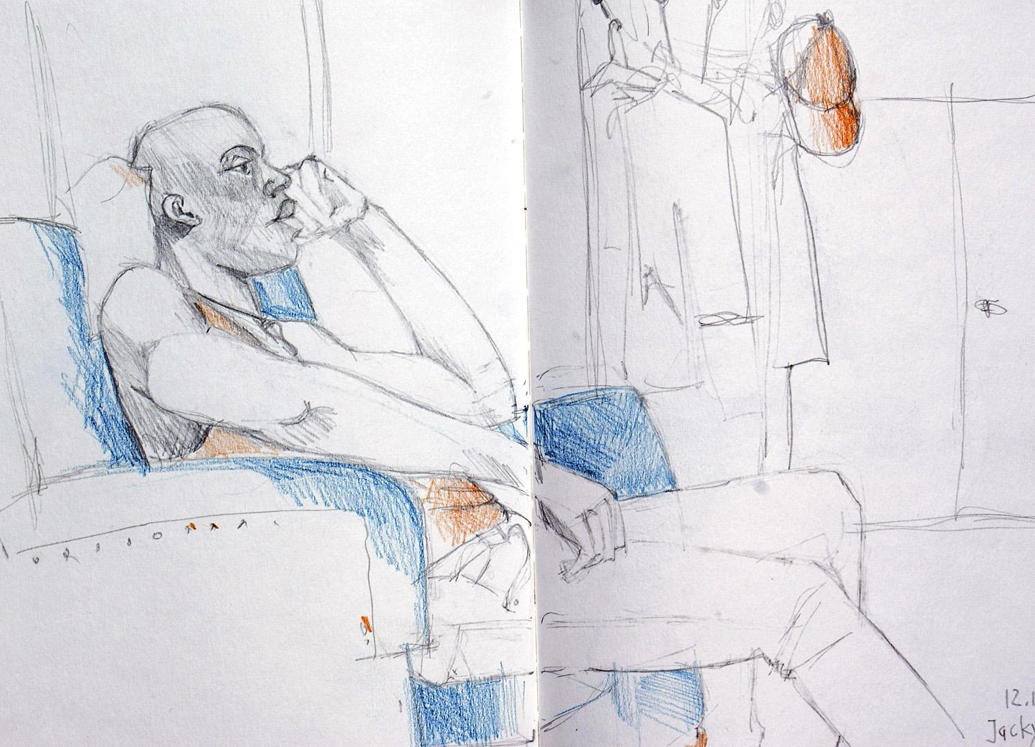Zeichnung Mann sitzt auf Sessel