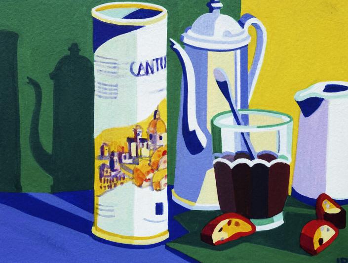 Keksdose, Kaffeekrug, Kaffeeglas mit Löffel