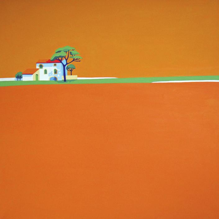 Oranges Feld mit Domaine im Hintergrund