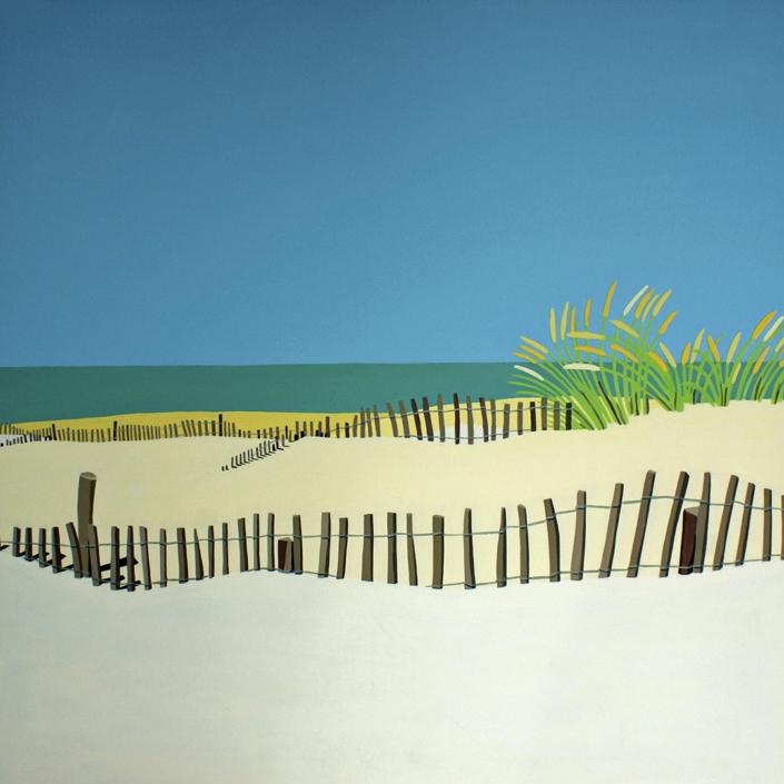 Sanddüne mit Zäunen und Schilf