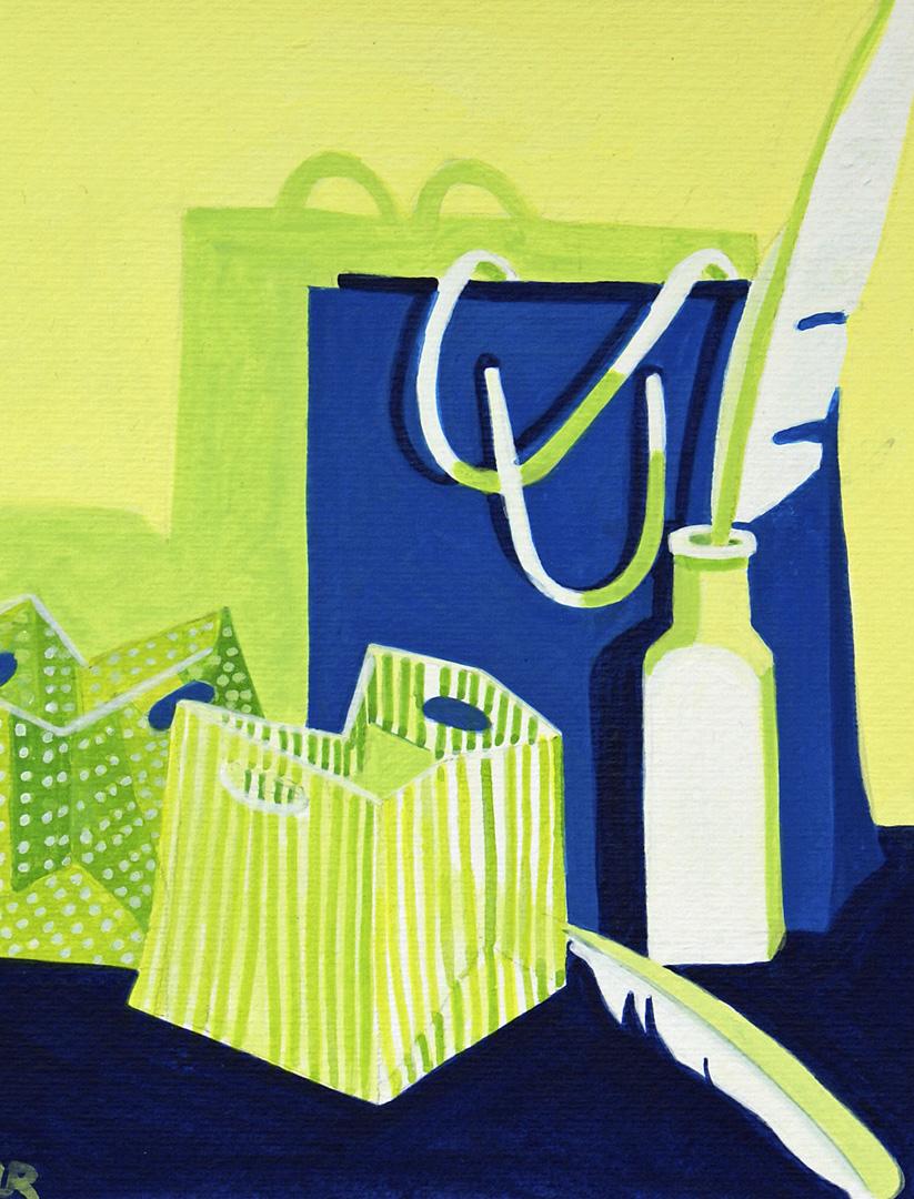 Gepunktete und gestreifte Papiertragtaschen, Flasche mit Schreibfeder