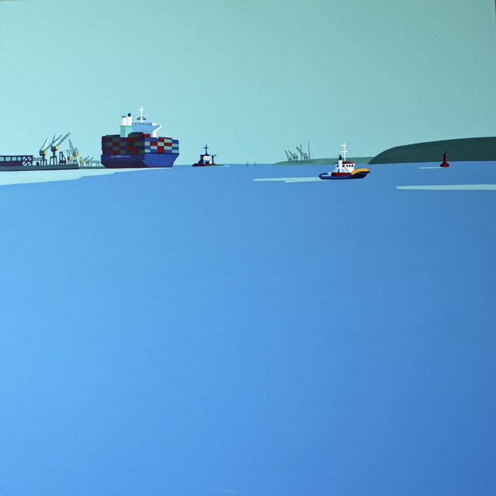 Containerschiff verlässt die Elbe