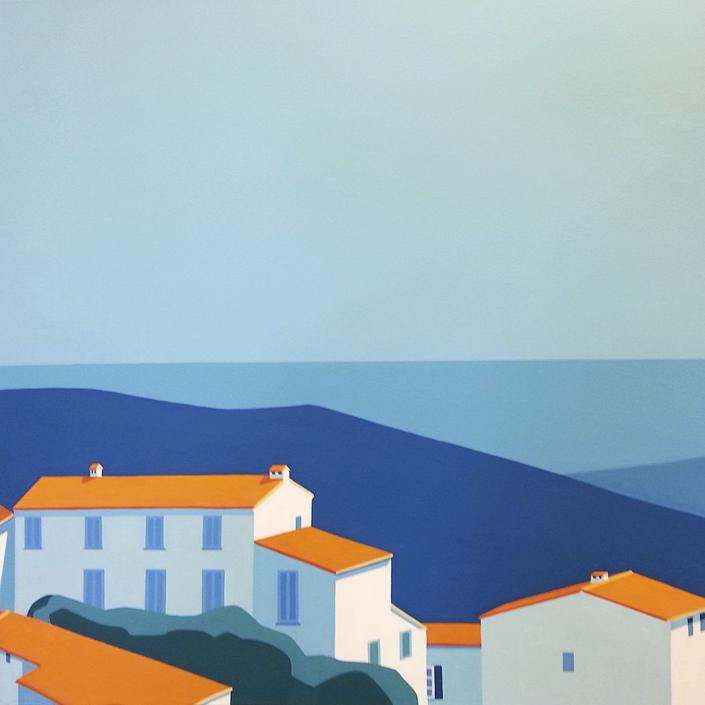 Häuser mit Meer im Hintergrund