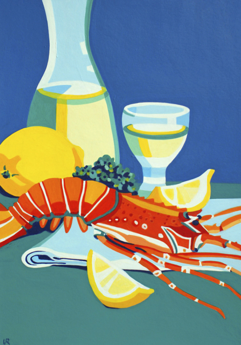 Languste mit Zitronenschnitze, Weinglas und Weinkrug
