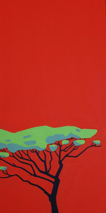 Pinie mit Schirmkrone auf rotem Hintergrund