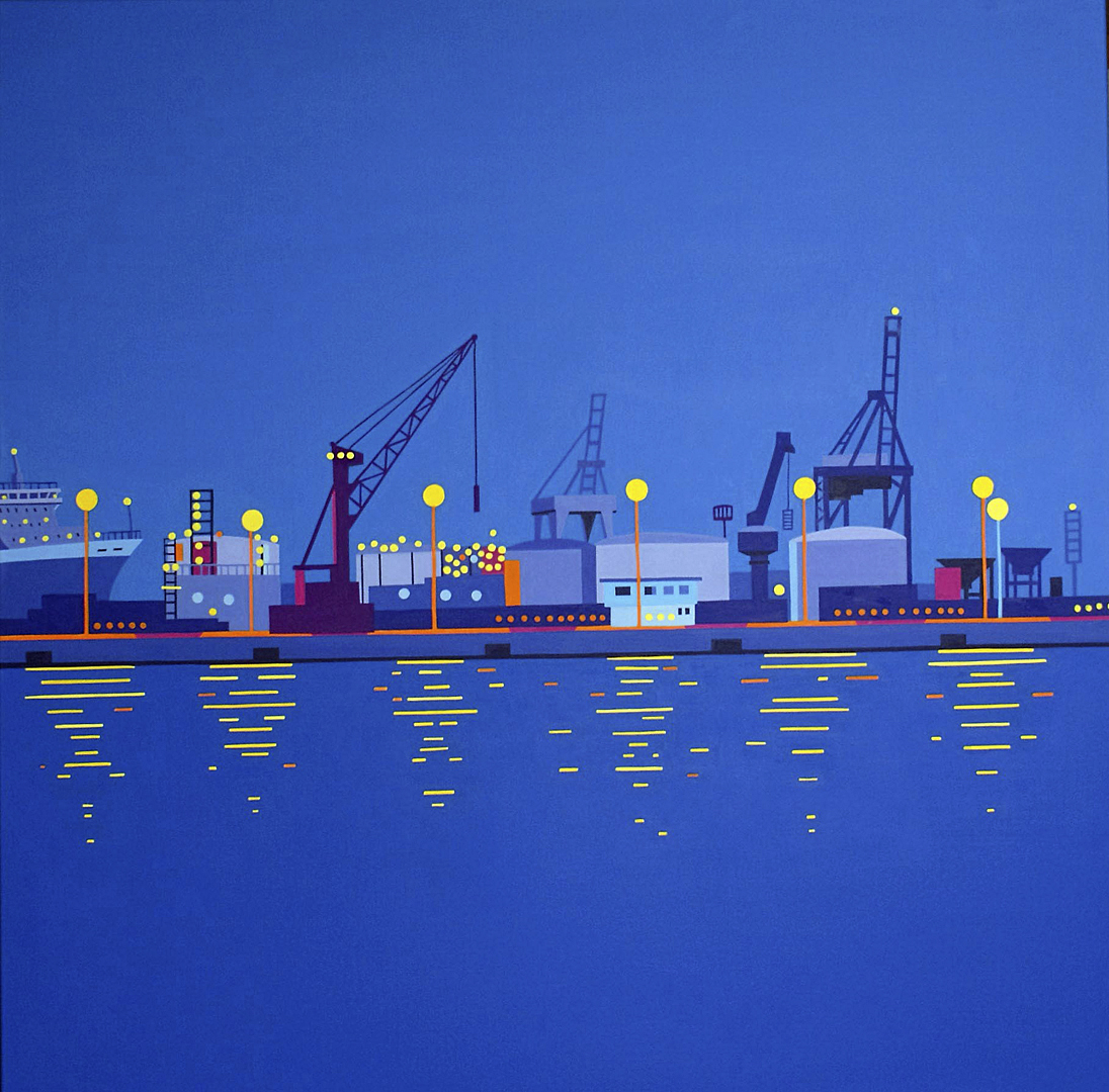 Lichter in der Hafenanlage