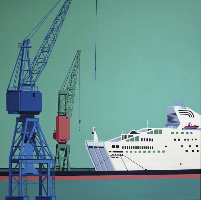 Zwei Hafenkräne und eine Fähre
