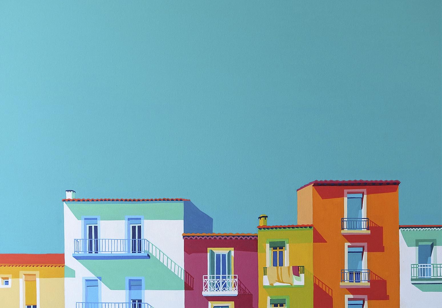Farbige Häuserzeile