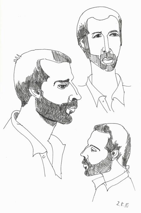 Drei Porträtzeichnungen von Milenko