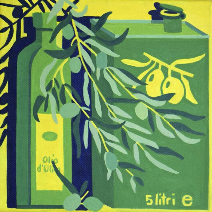 Eine Flasche und ein Kanister Olivenöl