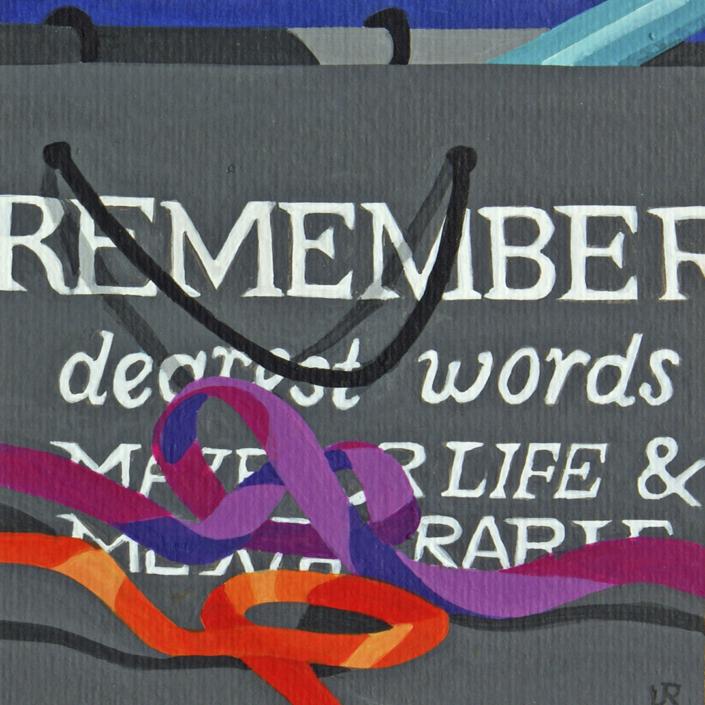 Schwarze Papiertragtasche mit Schriftzug Remember