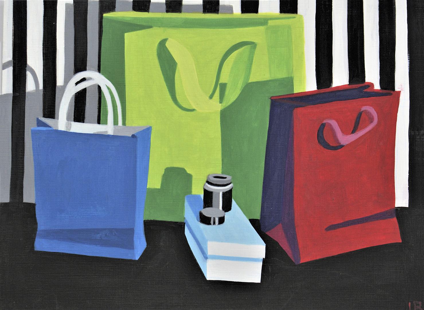 3 Papiertaschen in Rot, Grün und Blau