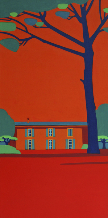Rotes Haus mit Pinie