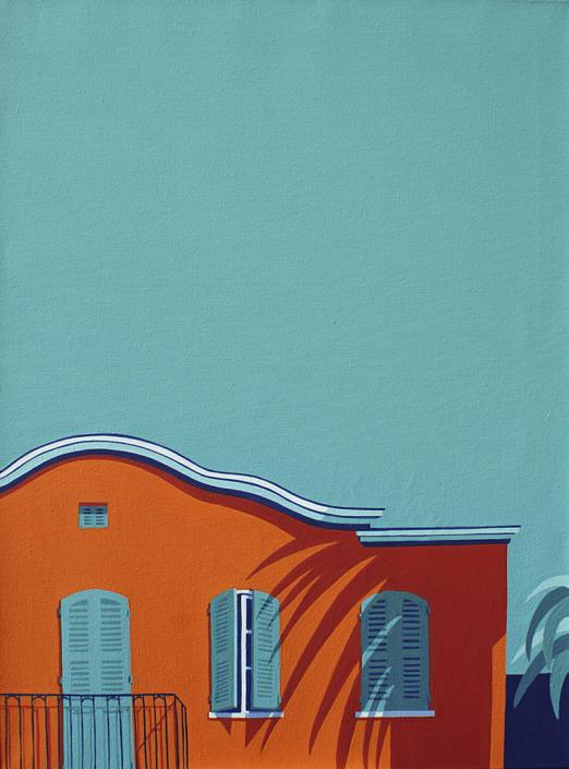 Rotes Haus mit Schattenwurf einer Palme