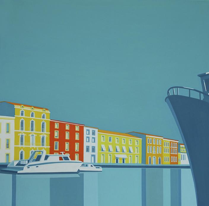 Ansicht des Quais mit Booten und Häuserzeile
