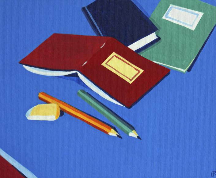 2 Bleistifte, Radiergummi, 3 Skizzenbücher
