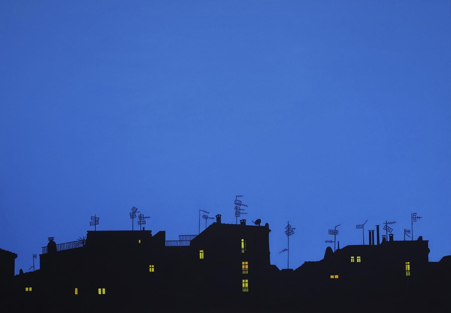 Häusersilhouette in der Nacht