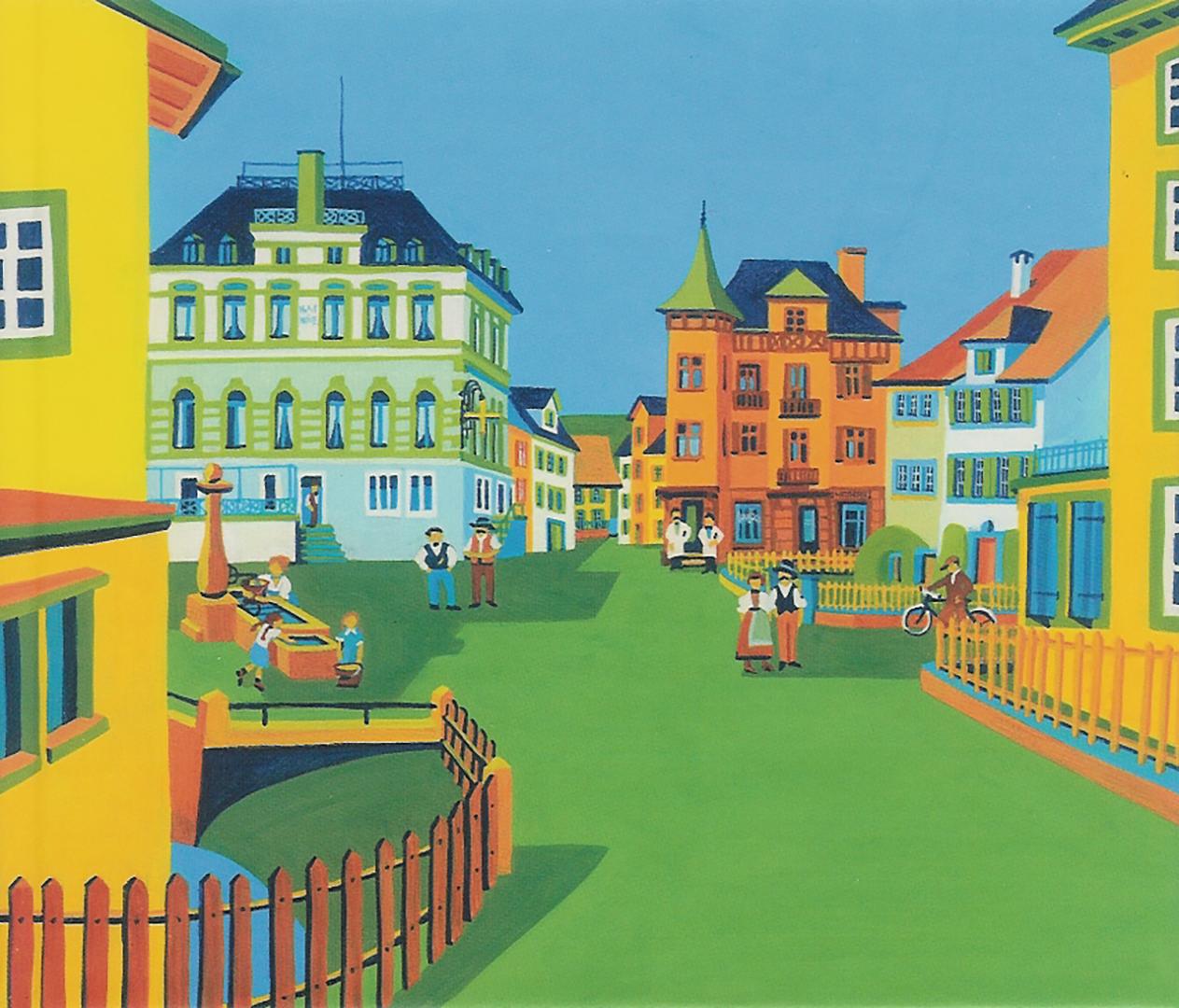 Dorfplatz mit Menschen und Häusern