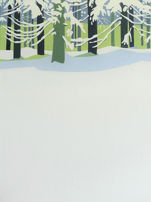 Verschneite Bäume am Waldrand