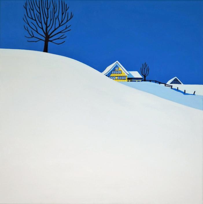 Appenzeller Schneelandschaft mit gelbem Haus