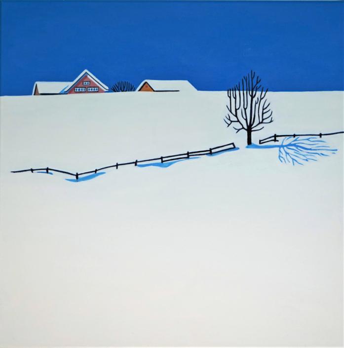 Appenzeller Schneelandschaft mit rotem Haus