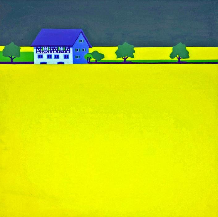 Blühendes Rapsfeld mit Riegelhaus