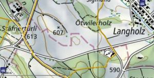 Topographische Landkarte vom Hügel