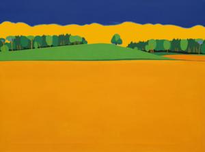 Hügel mit Baum mit blau-orangem Hintergrund