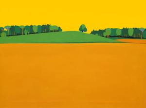 Hügel mit Baum, mit orangem Hintegrund